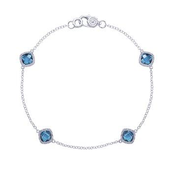 Crescent Embrace London Blue Topaz 4-station bracelet