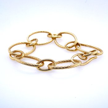 14k Yellow Gold Twsited Oval Link Bracelet