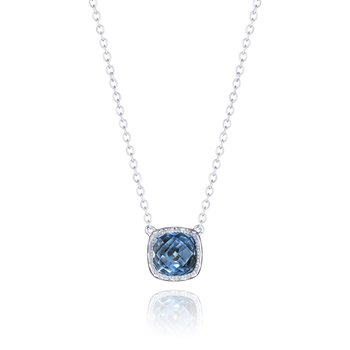 Crescent Embrace Petite Cushion Gem Necklace with London Blue Topaz