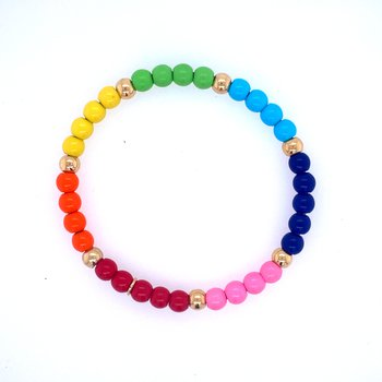 18k Yellow Gold Rainbow Bead Bracelet