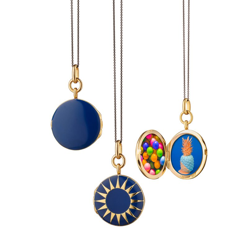 Monica Rich Kosann Blue Enamel Vermeil Round Locket
