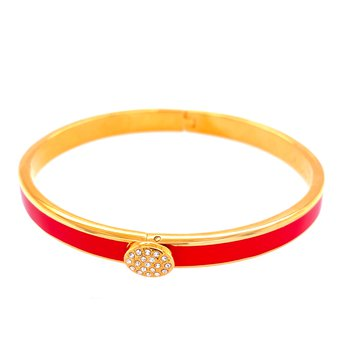 6mm GP Red Enamel & Pave Bangle