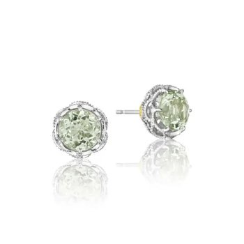 Crescent Crown Studs featuring Prasiolite