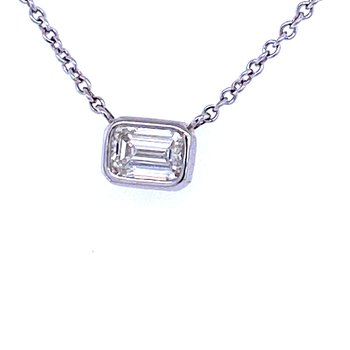 18KW 0.31ct Emerald Cut Diamond Solitaire