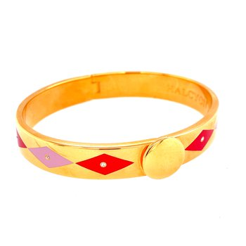 10mm GP Red & Light Pink Enamel Kite Bangle
