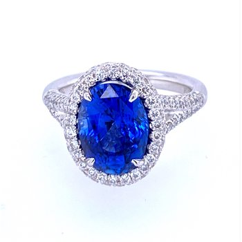 PT 4.38ct Sapphire & Diamond Ring