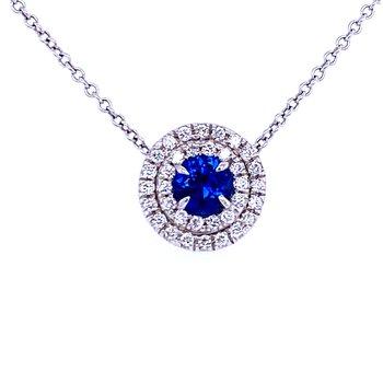 18KW Sapphire & Diamond Pendant