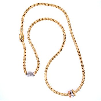 18KY Diamond Rondelle Necklace