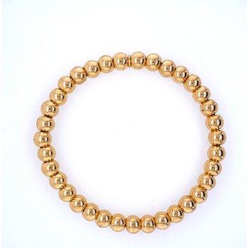 18k Yellow Gold 6mm Bead Bracelet