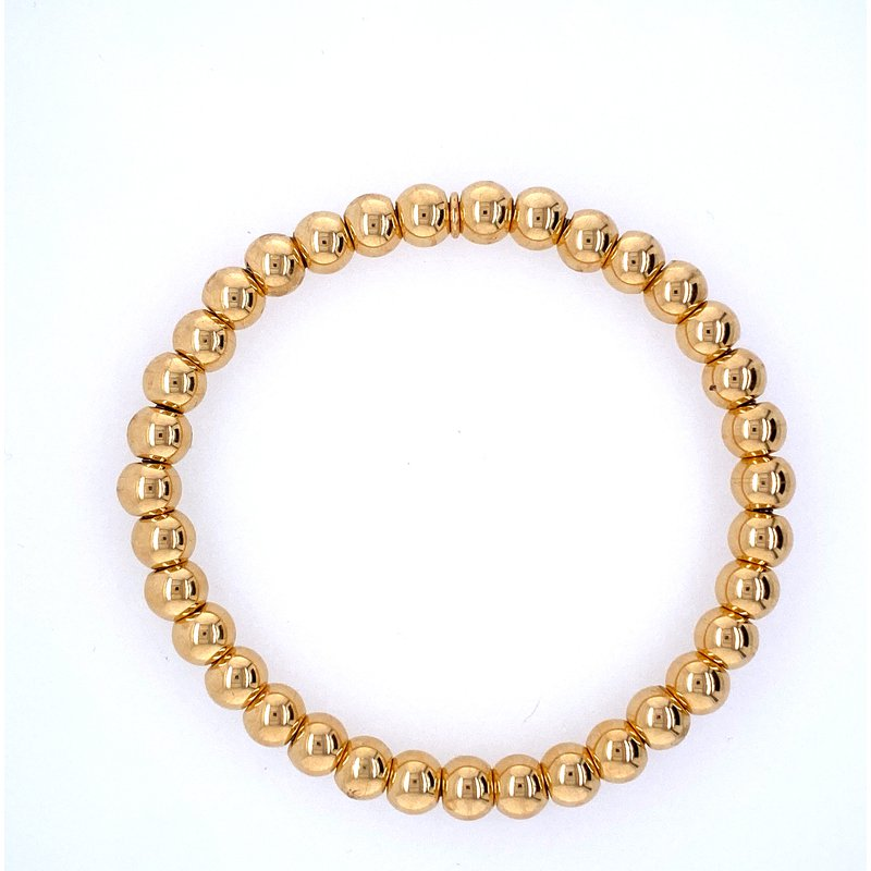 David Harvey Everyday Collection 18k Yellow Gold 6mm Bead Bracelet