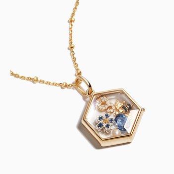 14K Yellow Gold Hexagonal Locket