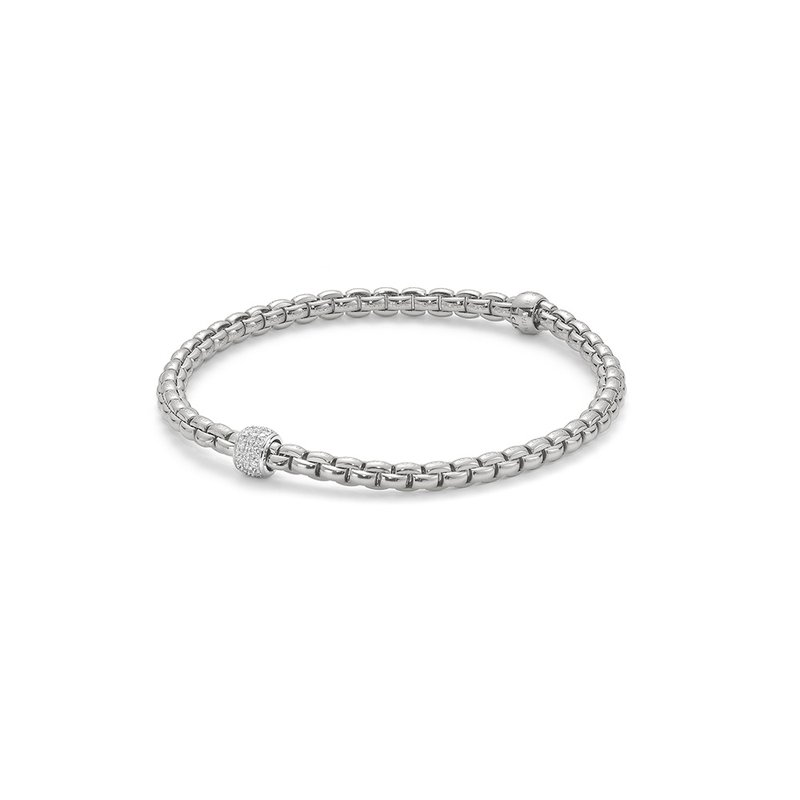 "FOPE 18KT ""EKA Tiny Collection"" Diamond Pave Flex Bracelet"