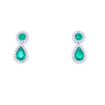 18KW Emerald & Diamond Drops