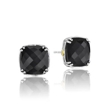 Caissa Crescent Bold Cushion Cut Black Onyx Stud