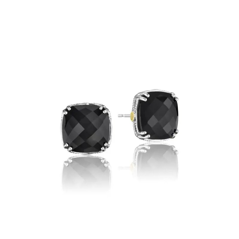 Tacori Fashion Caissa Crescent Bold Cushion Cut Black Onyx Stud