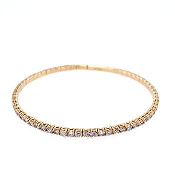 14KY 3.01ctw Diamond Flex Bangle