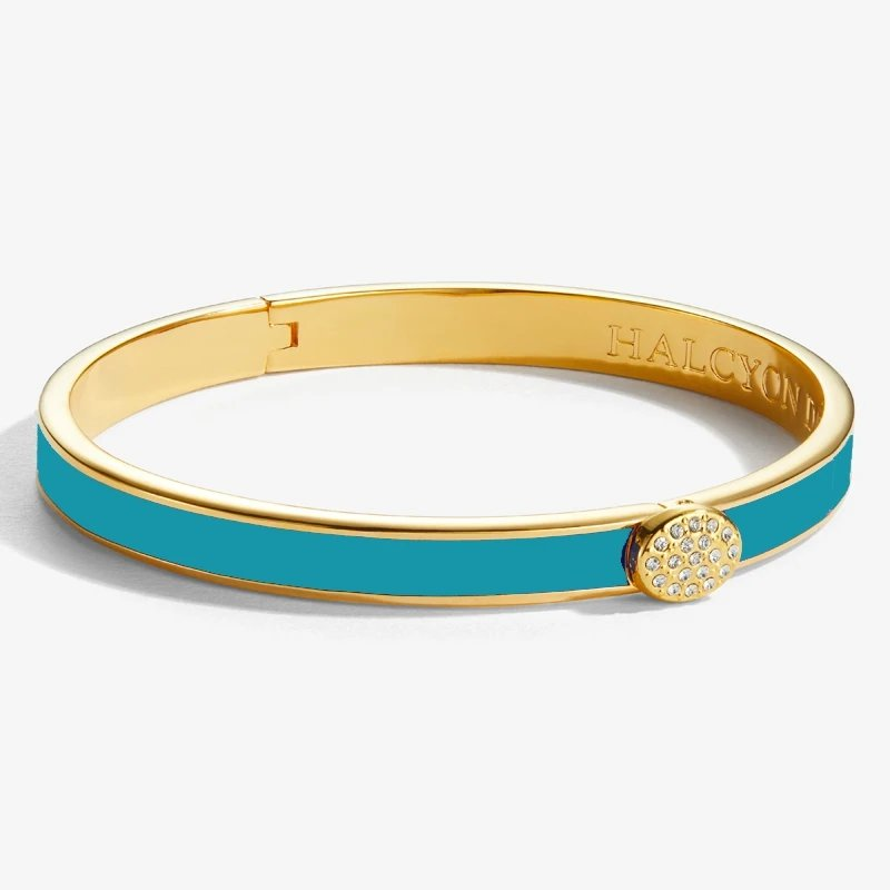 Halcyon Days  Skinny Pave Button Turquoise and Gold Bangle