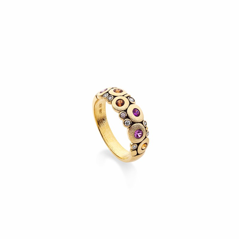 """Alex Sepkus Pink and Orange Sapphire """"Candy"""" Dome Ring"""