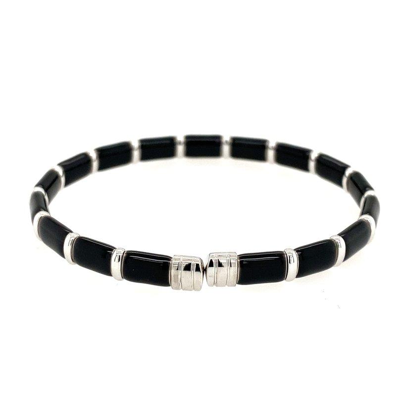 Designer Clearance Sale The Henderson Collection Firenze Black Enamel and Diamond Bracelet