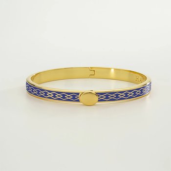 Skinny Parterre Chain Deep Colbalt and Gold Bangle