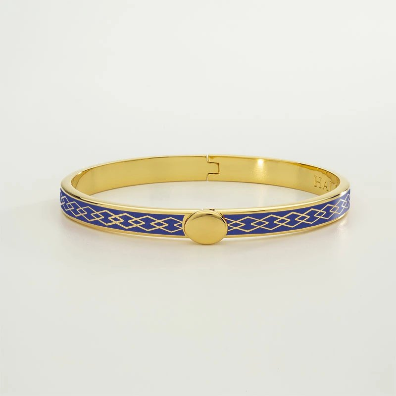 Halcyon Days  Skinny Parterre Chain Deep Colbalt and Gold Bangle