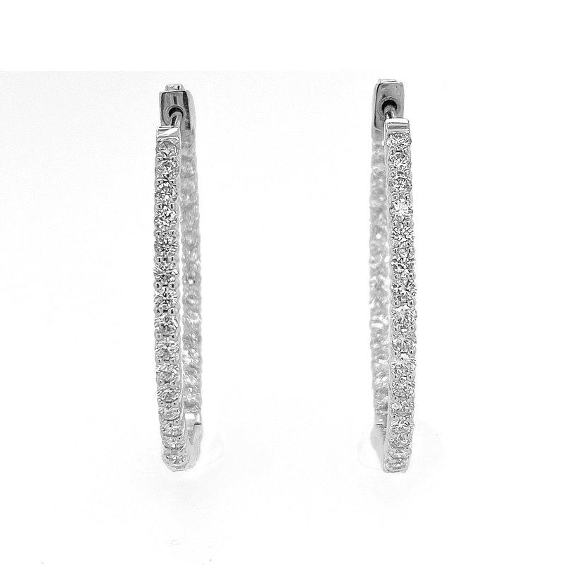 "David Harvey Everyday Collection 14KW 2.00ctw 1.75"" Diamond Hoops"