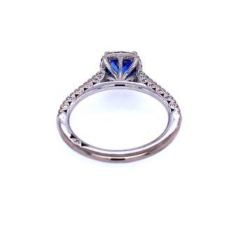 "18KW 1.10ct Sapphire & Diamond ""Petite Crescent"" Ring"