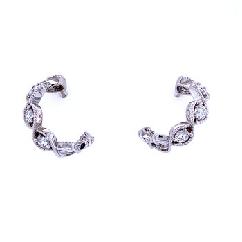 18KW 0.96ctw Diamond Twist Hoops