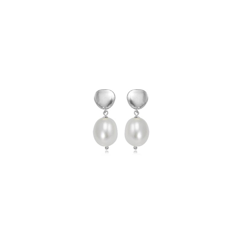 David Harvey Everyday Collection SS Round Concave Stud with Pearl Drop