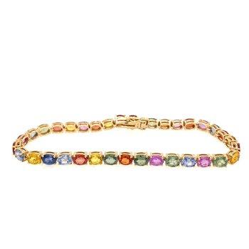 Multicolor Sapphire Line Bracelet