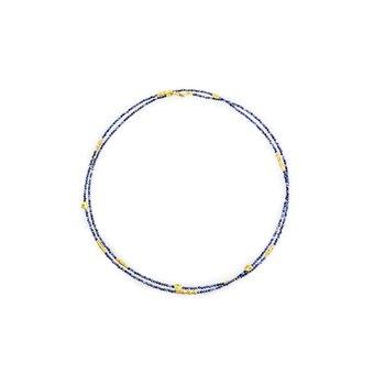 "Milky Sapphire ""Flora"" Beaded Necklace"