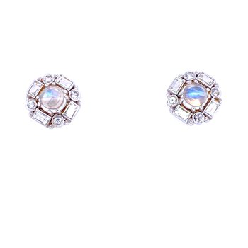 "SS Moonstone & White Topaz ""Royal"" Studs"