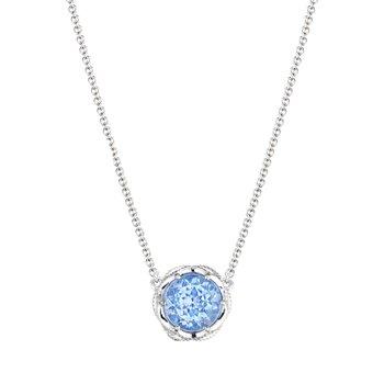 Crescent Crown Swiss Blue Topaz Bold Crescent Station Necklace