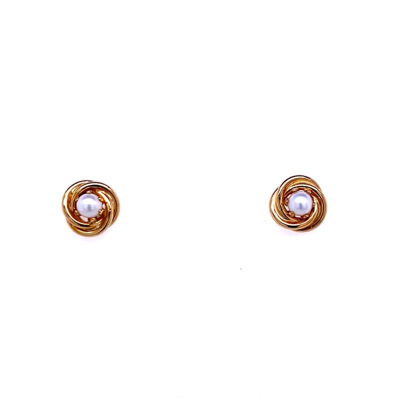 David Harvey Everyday Collection 14KY Pearl Love Knot Studs