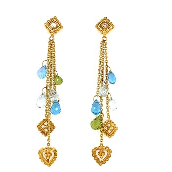 Diana Heimann 18K Aquamarine, Peridot and Blue Topaz Briolette Drop Earing