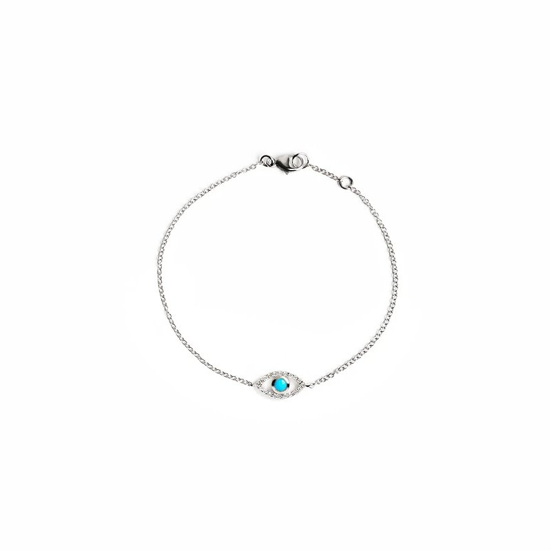 Anzie Turquoise Classique Pavé Evil Eye Bracelet