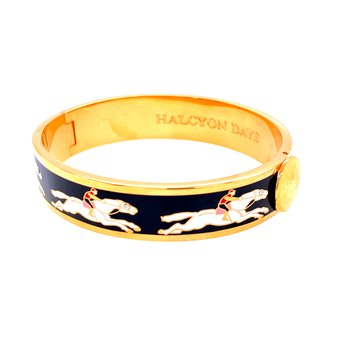 13mm GP Black Enamel Racehorse Bangle
