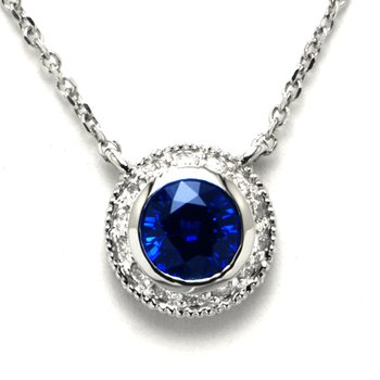 Blue Sapphire and Diamond Halo Pendant