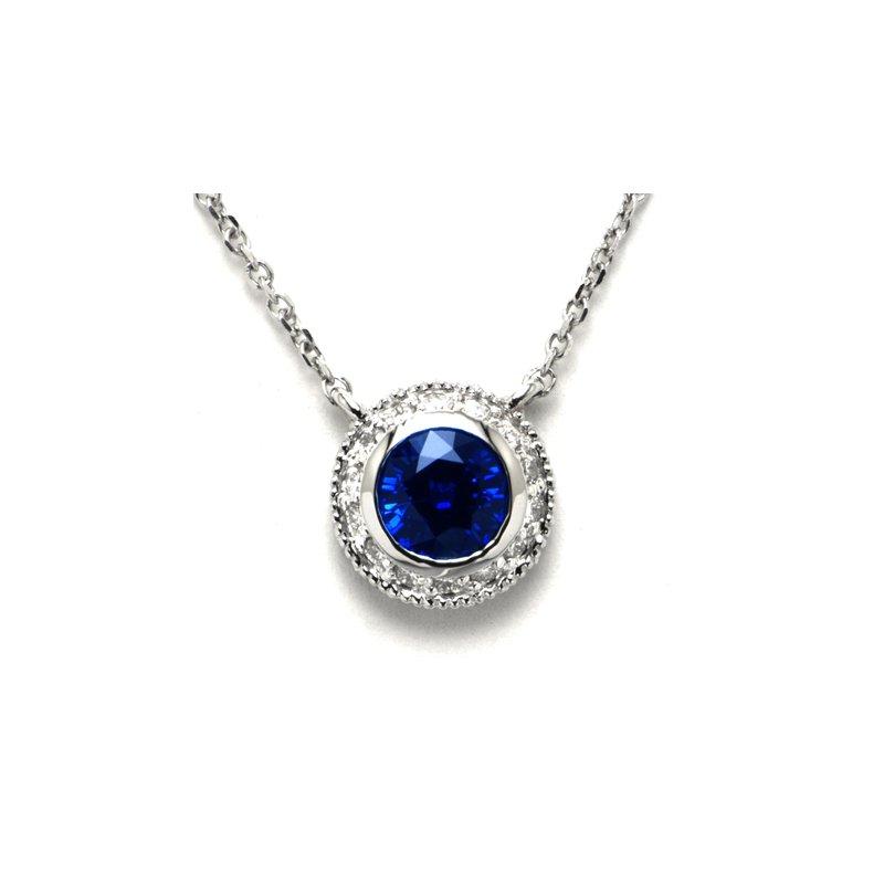 David Harvey Signature Blue Sapphire and Diamond Halo Pendant