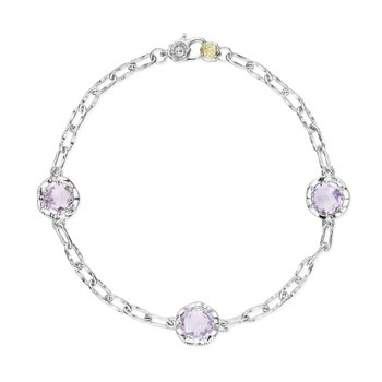 Crescent Crown Rose Amethyst Triple Gem Bracelet