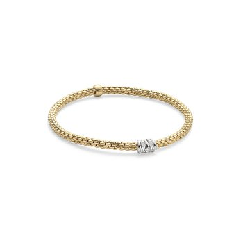 "18KT Two Tone Diamond Rondelle ""Prima"" Flex Bracelet"