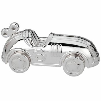 Silver Plate Race Car Coin Bank