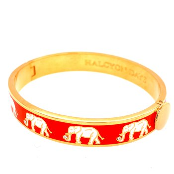 10mm GP Orange Enamel Elephant Bangle