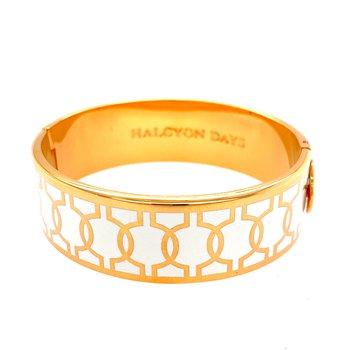 Geometric Circle Cream and Gold Bangle