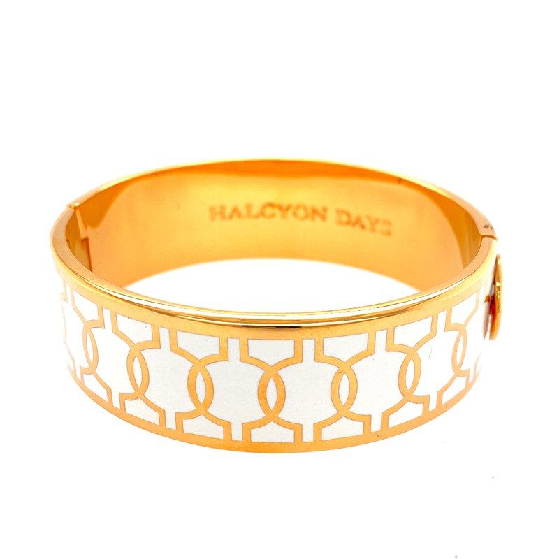 Halcyon Days  Geometric Circle Cream and Gold Bangle