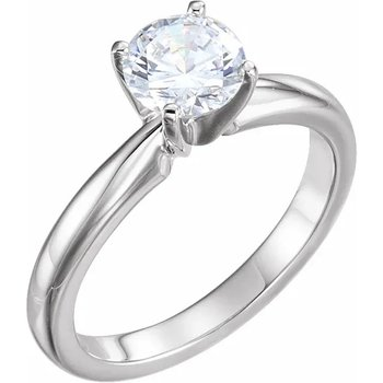 14K  White 7.8-8.6 mm Round 4 Prong Engagement Ring Mounting