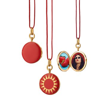 Red Enamel Vermeil Round Locket