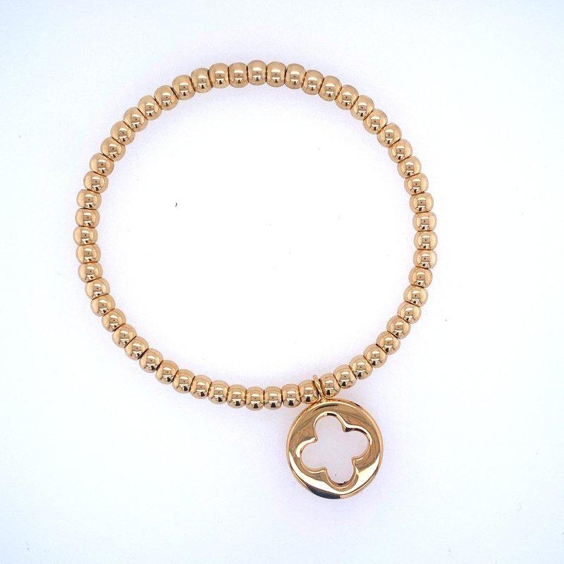 David Harvey Everyday Collection 18k Yellow Gold Bead & Flower Cross Bracelet