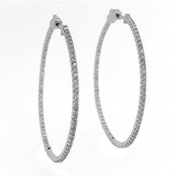 """14KW 1.55ctw 2.0"""" Diamond Hoops"""