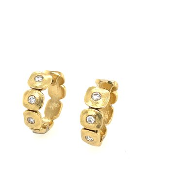 "18KT Yellow Gold ""Dancing Squares"" Hoops"